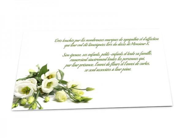 Cartes décès fleurs - Bouquet de roses blanches