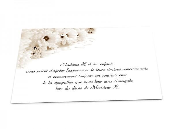 Cartes décès fleurs - Fleurs blanches