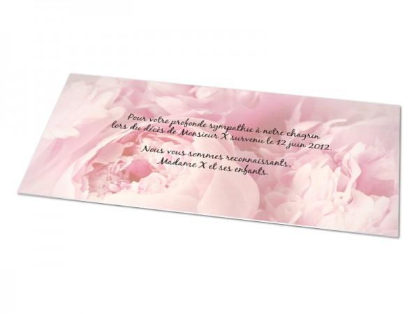 Cartes décès fleurs - Fond pivoine rose