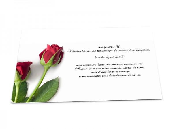 Cartes décès fleurs - Deux roses rouges