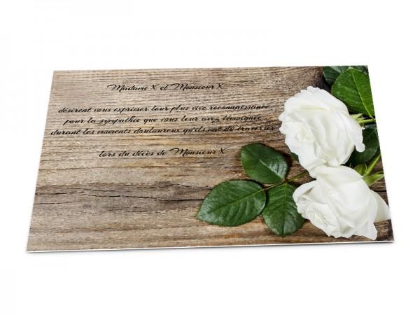 Cartes décès fleurs - Roses blanches sur fond bois