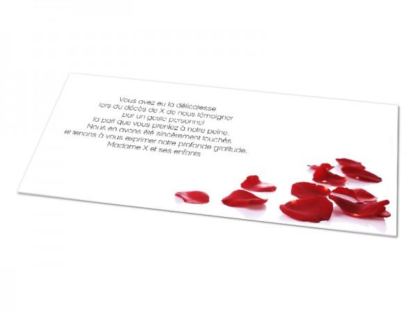 Cartes décès fleurs - Pétales de roses