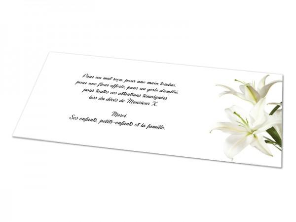 Cartes décès fleurs - Lys blancs