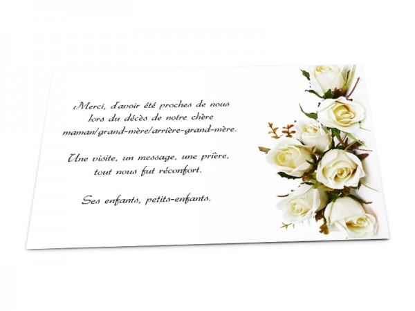 Cartes décès fleurs - Composition roses blanches