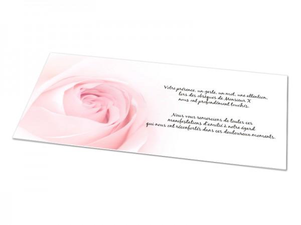 Cartes décès fleurs - Fond rose pastel