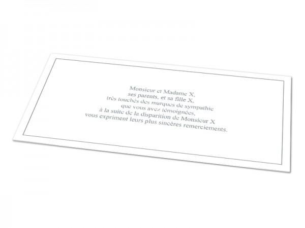 Cartes décès classiques - Texte encadré sur fond uni