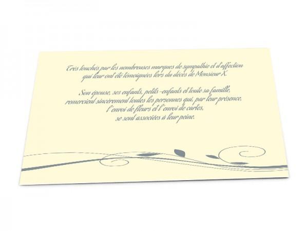 Cartes décès classiques - Ornement floral gris