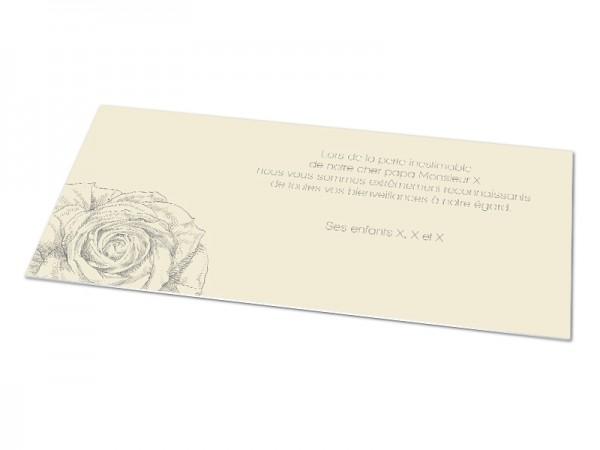 Cartes décès classiques - Rose à l'encre de chine