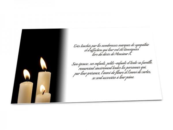 Cartes décès classiques - Bougies blanches