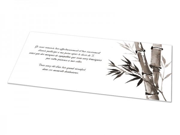 Cartes décès classiques - Bambou aquarelle