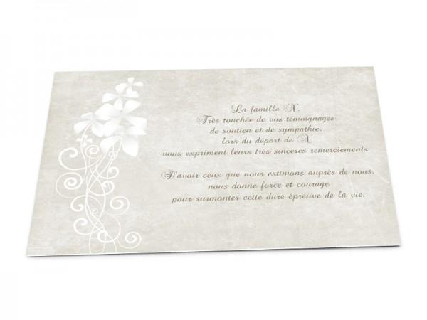 Cartes décès classiques - Dessin fleurs blanches