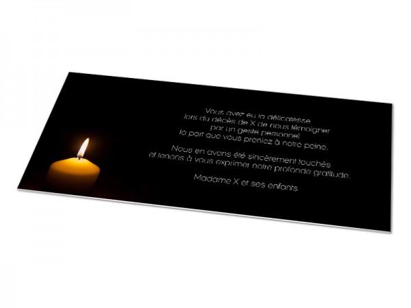 Cartes décès classiques - Bougie sur fond noir