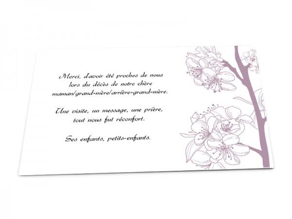 Cartes décès classiques - Illustration lila asiatique