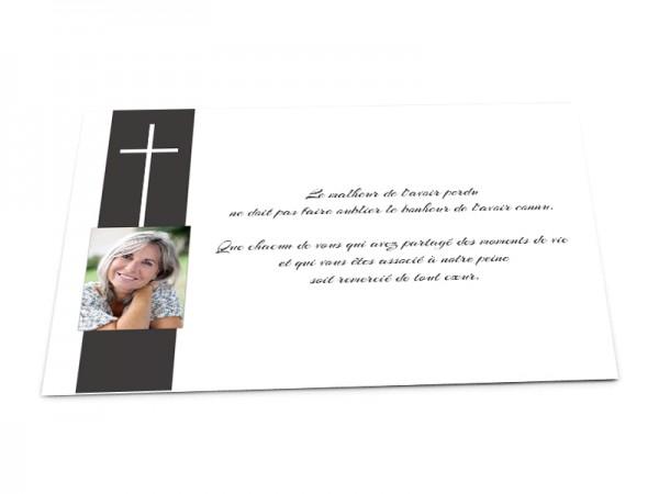 Cartes décès chrétien - Croix blanche et photo