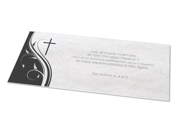 Cartes décès chrétien - Ornement et croix