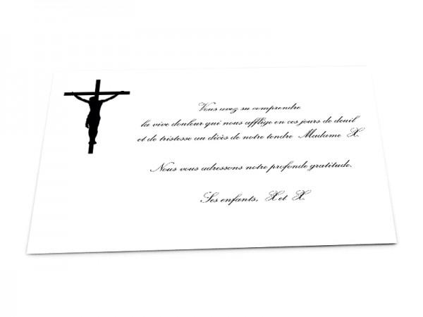 Cartes décès chrétien - Croix Jésus sur fond uni