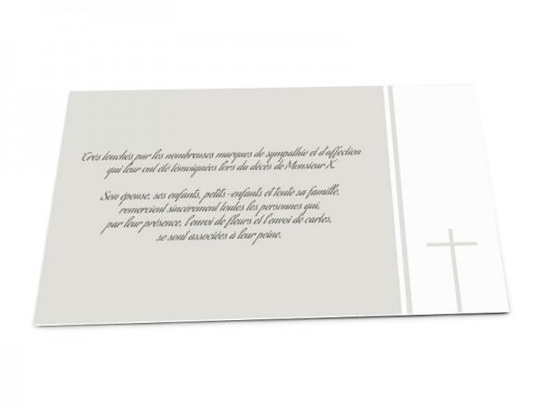 Cartes décès chrétien - Croix sur bandeau blanc et fond uni