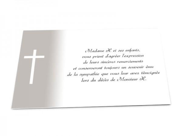 Cartes décès chrétien - Croix blanche sur fond en dégradé