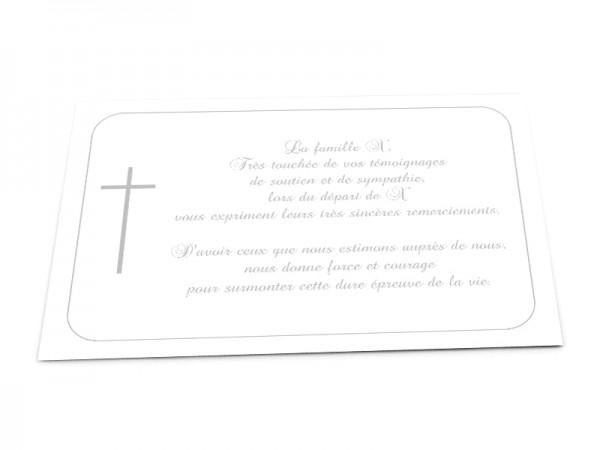 Cartes décès chrétien - Croix dans encadré arrondi