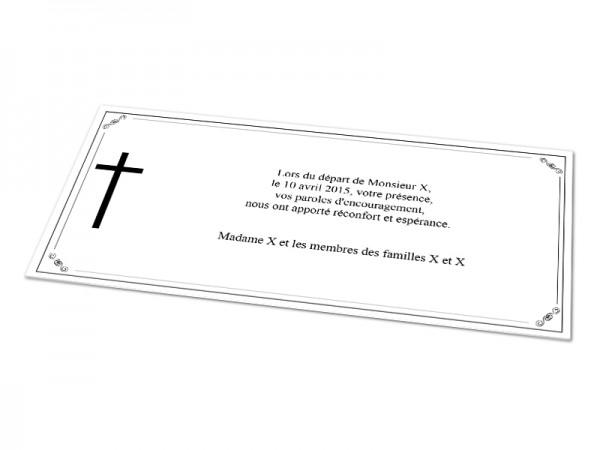Cartes décès chrétien - Croix sur cadre décoratif