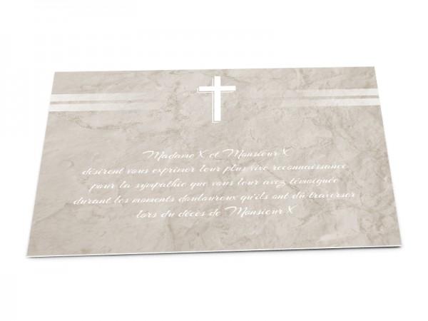 Cartes décès chrétien - Croix et lignes blanches