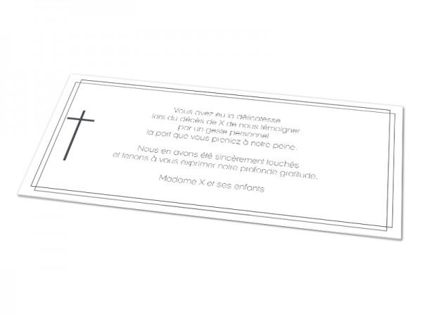 Cartes décès chrétien - Croix et encadrement double
