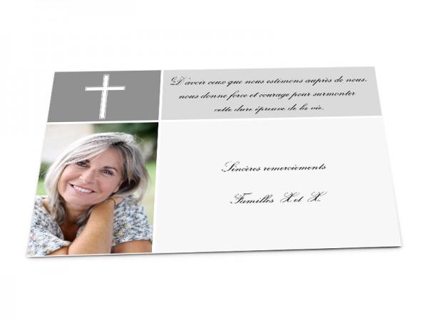 Cartes décès chrétien - Croix, photo et 2 zones de texte