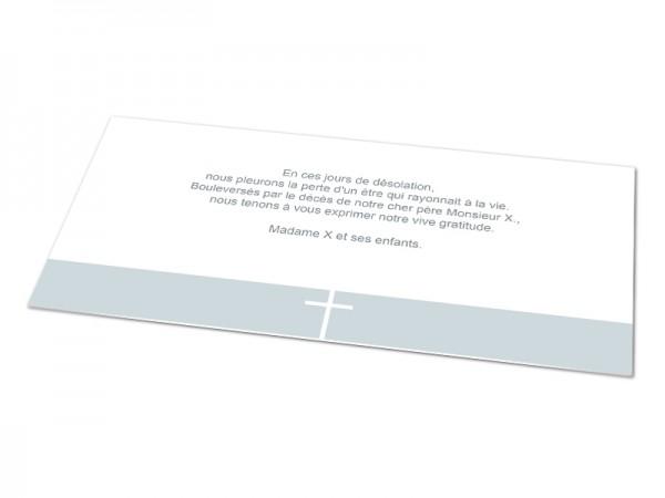 Cartes décès chrétien - Croix sur bandeau de couleur