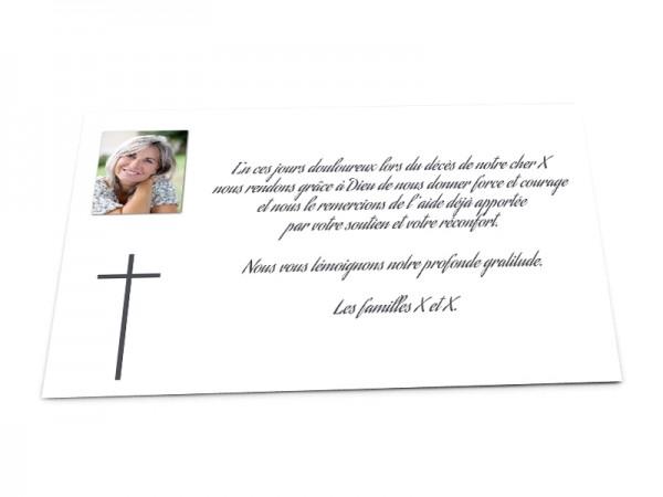 Cartes décès chrétien - Photo et croix sur fond uni