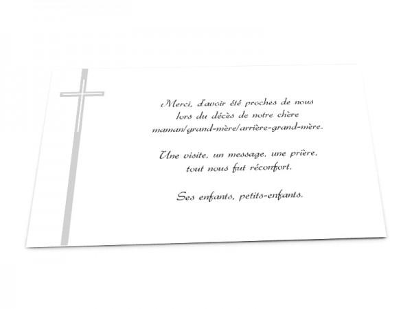 Cartes décès chrétien - Croix allongée