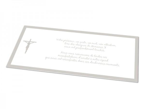 Cartes décès chrétien - Croix Jésus avec contour coloré