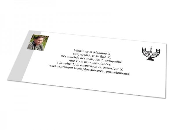 Cartes décès juif - Ménorah et photo