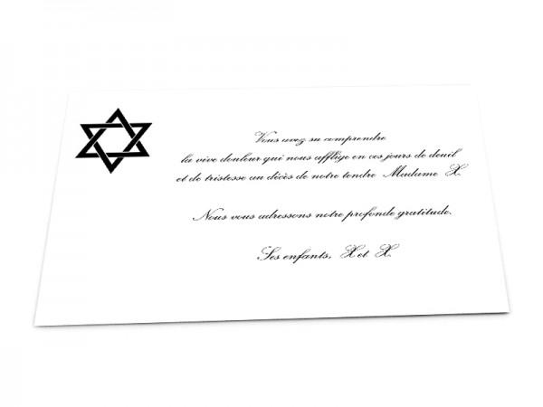 Cartes décès juif - Etoile de David sur fond uni