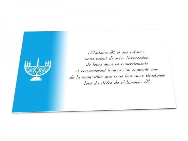 Cartes décès juif - Ménorah blanche sur fond en dégradé