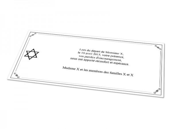 Cartes décès juif - Etoile de David sur cadre décoratif