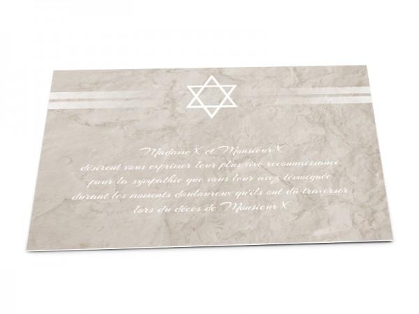 Cartes décès juif - Etoile de David et lignes blanches