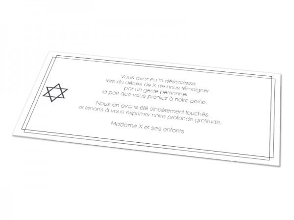 Cartes décès juif - Etoile de David et encadrement double
