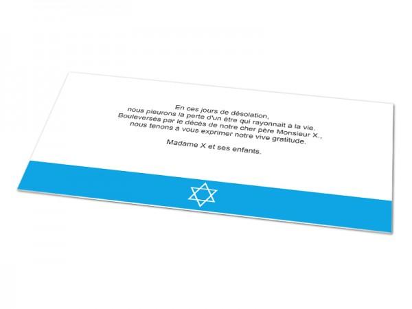 Cartes décès juif - Etoile de David sur bandeau de couleur