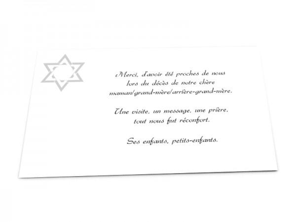 Cartes décès juif - Etoile de David double
