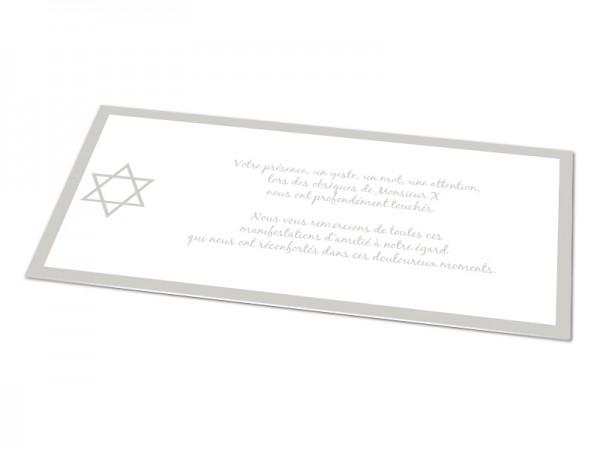 Cartes décès juif - Etoile de David avec contour coloré