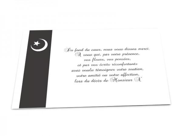 Cartes décès musulman - Croissant de lune et étoile blancs sur bandeau gris