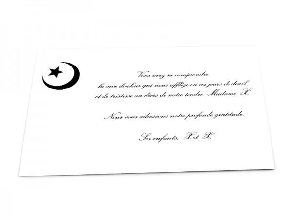 Cartes décès musulman - Croissant de lune et étoile sur fond uni