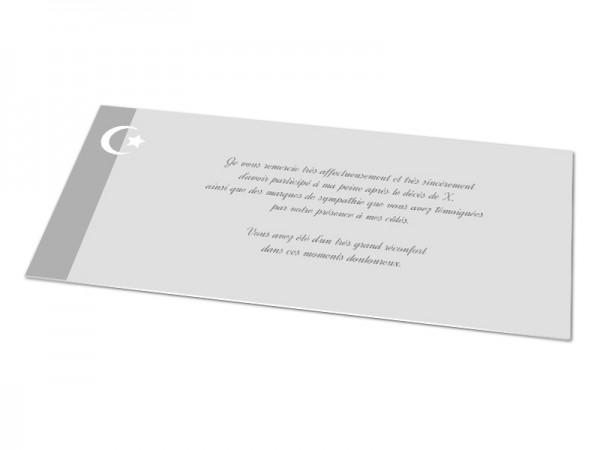 Cartes décès musulman - Croissant de lune et étoile blancs
