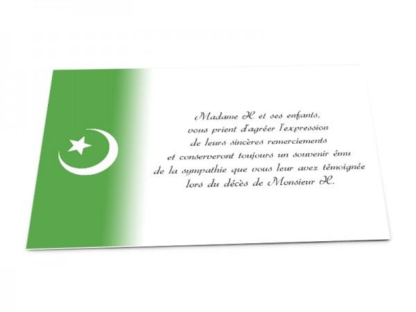 Cartes décès musulman - Croissant de lune et étoile blancs sur fond en dégradé