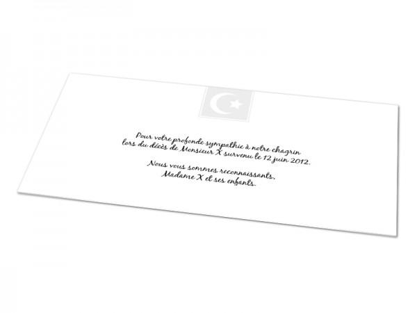 Cartes décès musulman - Croissant de lune et étoile blancs encadrés