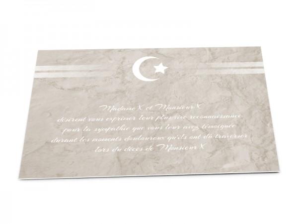 Cartes décès musulman - Croissant de lune et étoile avec lignes blanches