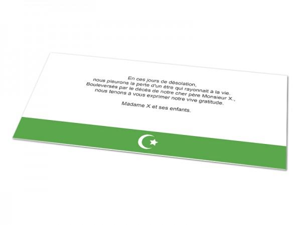 Cartes décès musulman - Croissant de lune et étoile sur bandeau de couleur