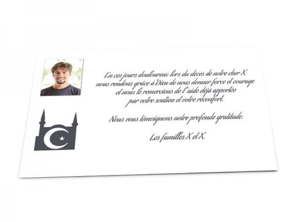 Cartes décès musulman - Photo et Croissant de lune avec étoile sur fond uni