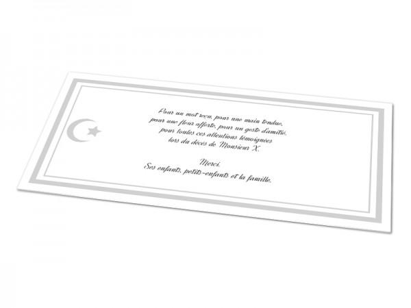 Cartes décès musulman - Croissant de lune et étoile avec texte encadré