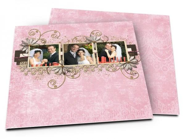 Remerciements mariage - Fleurs blanches sur fond rose